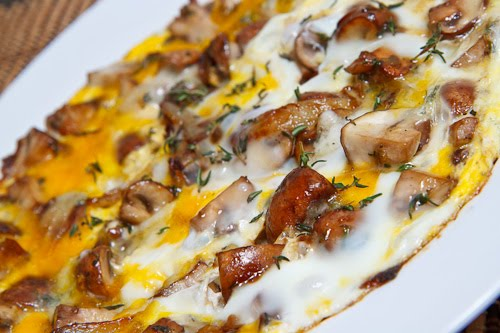 Mushroom and Thyme Omelette with Gorgonzola