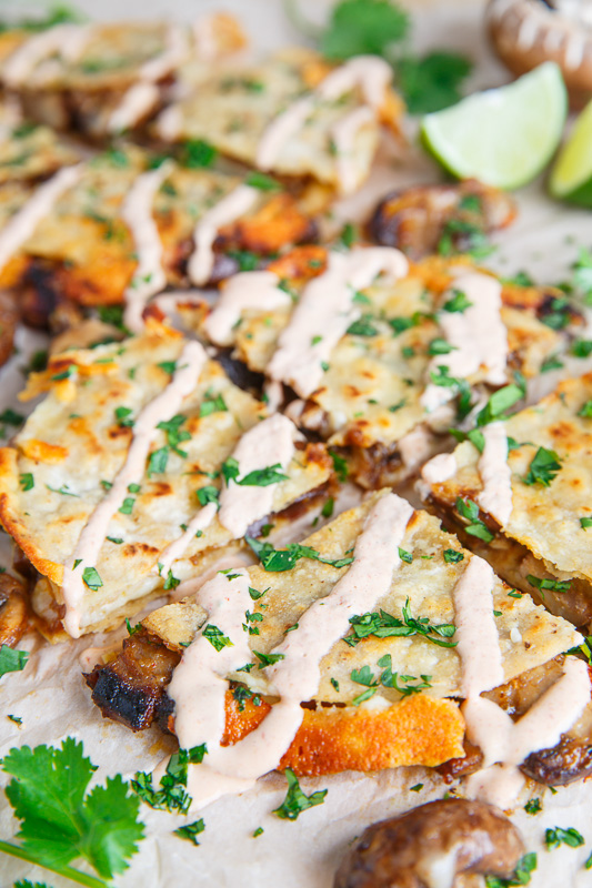 Mushroom Quesadillas with Chipotle Crema