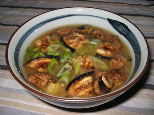 Oven Roasted Eggplant and Mushroom Miso Soup