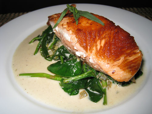Pan Seared Salmon on Spinach in Tarragon Sauce