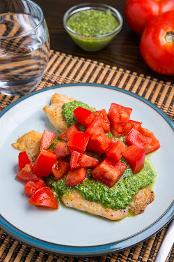Parmesan Crusted Pesto Tilapia Bruschetta