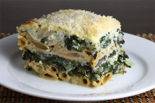 Pastitsio (Greek Lasagna) with Greens