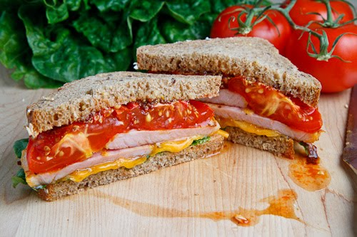 Peameal Bacon and Roasted Tomato Sandwich with Cheddar Cheese and Grainy Honey Mustard