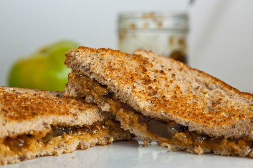Peanut Butter and Green Tomato and Jalapeno Jam Sandwich