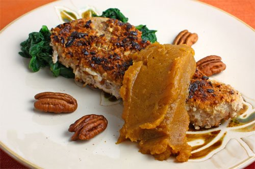 Pecan Crusted Pork Chops with Pumpkin Butter