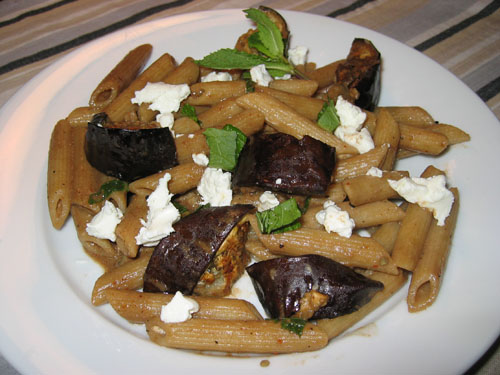 Penne with Oven Roasted Eggplant, Goats Cheese and Mint