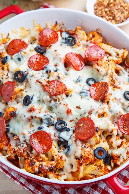 Cauliflower Pepperoni Pizza Casserole