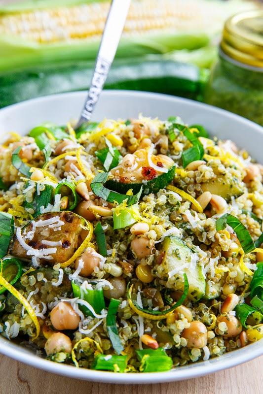 Pesto Zucchini and Corn Quinoa Salad