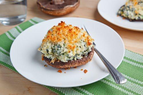 Portobello Mushrooms Stuffed with Spinach and Artichoke Dip