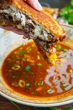 Pot Roast Grilled Cheese French Dip Sandwich with Spicy Miso Au Jus