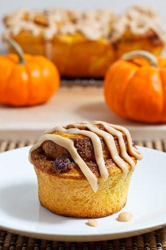 Pumpkin Pie Cinnamon Buns with Caramel Cream Cheese Frosting