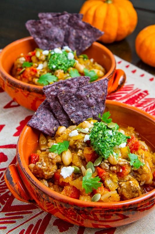 Pumpkin and White Bean Turkey Chili with Kale and Pepita Salsa
