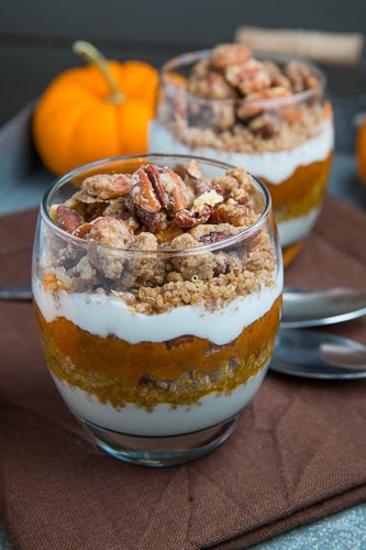 Pumpkin Pie Quinoa Parfait with Gingersnap Pecan Streusel