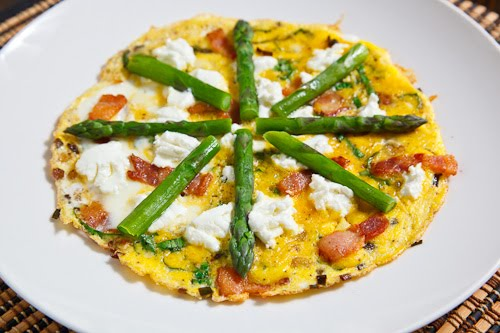 Ramp and Bacon Omelette with Asparagus and Goat Cheese
