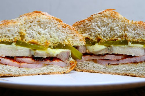 Roast Pork and Peameal Bacon Sandwich (A Canadian take on a Cuban Sandwich)