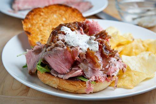 Roast Beef Sandwich with Caramelized Onions and Grainy Mustard, Horseradish Mayo