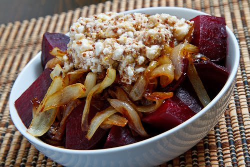 Roasted Beets with Caramelized Onions and Feta