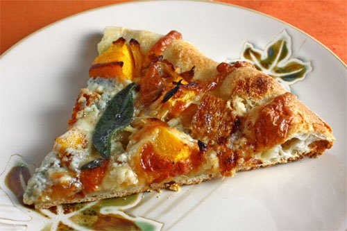 Roasted Butternut Squash and Caramelized Onion Pizza with Gorgonzola and Crispy Fried Sage