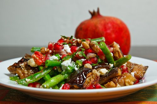 Roasted Eggplant, Red Pepper and Green Bean Pomegranate Salad