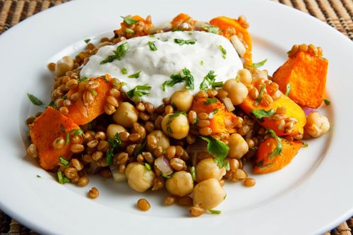 Roasted Butternut Squash and Chickpea Wheatberry Salad