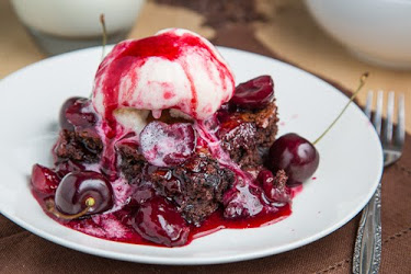 Roast Cherry Dark Chocolate Brownie Sundaes
