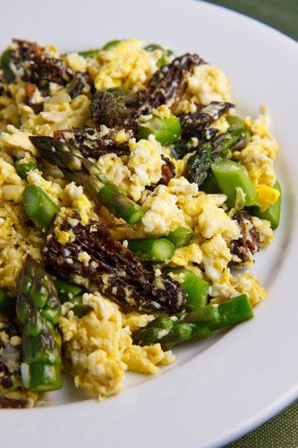 Scrambled Eggs with Ramps, Asparagus and Morel Mushrooms