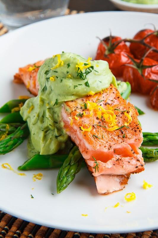 Seared Salmon in Dill Avodaise (Avocado Hollandaise) Sauce
