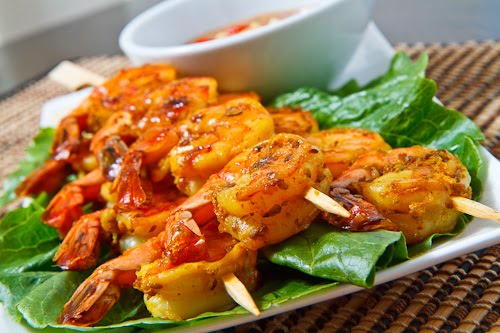 Shrimp Satay with Spicy Peanut Dipping Sauce