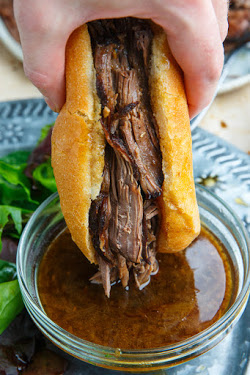 Slow Cooker Roast Beef French Dip Sandwich