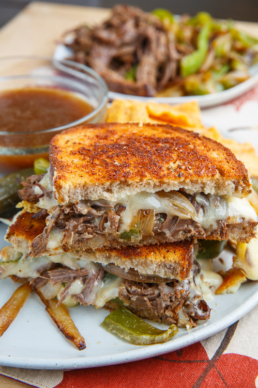 Slow Cooker Roast Beef Philly Cheesesteak French Dip Grilled Cheese Sandwich