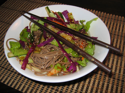 Bibim Guksu (Soba and Kimchi Salad)