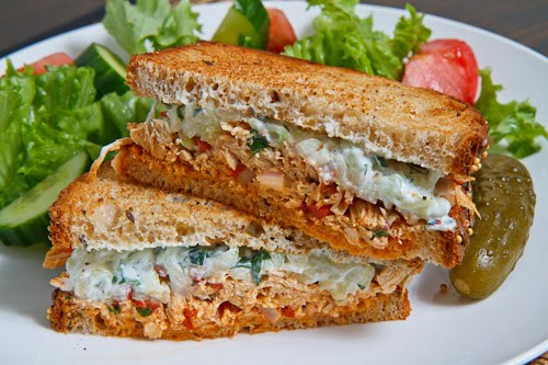 Souvlaki Chicken Salad Sandwich with Roasted Red Peppers and Feta