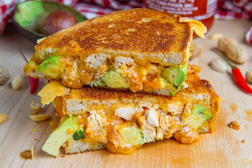 Spicy Peanut Chicken Grilled Cheese Sandwich (aka The Chicken Satay Melt)