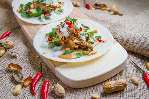 Spicy Peanut Chicken Tacos