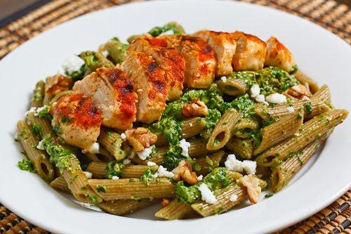 Spinach Pesto Pasta with Paprika Grilled Chicken