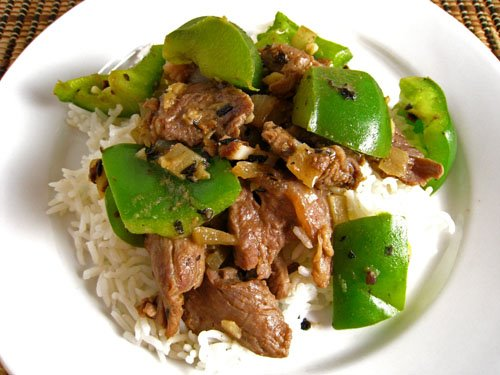 Steak and Peppers in Black Bean Sauce