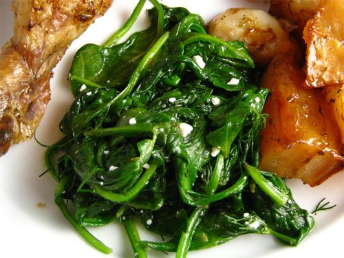 Spinach with Feta Dressing