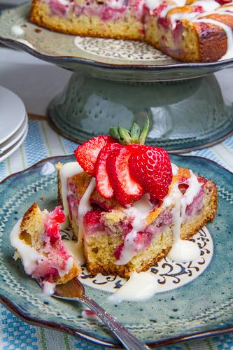 Strawberries and Cream Coffee Cake with Vanilla Cream Cheese Glaze