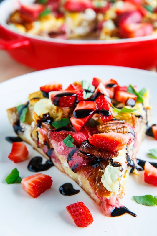 Strawberry, Bacon and Goat Cheese Strata with Balsamic Syrup