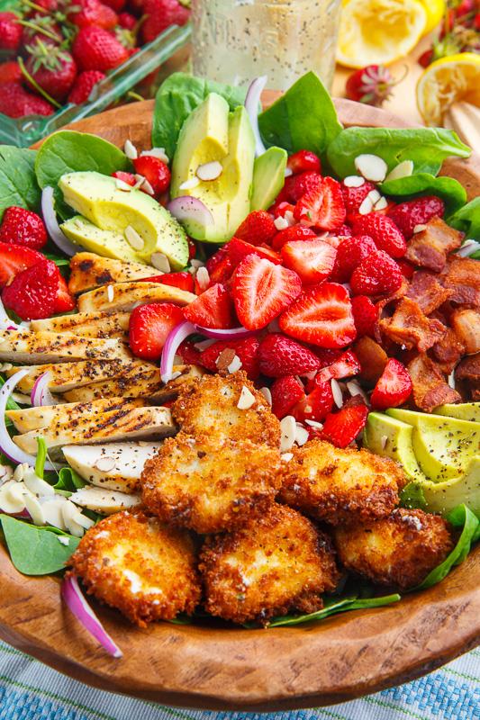 Strawberry and Avocado Chicken Salad with Crispy Fried Goat Cheese and Honey Lemon Dijon Poppy Seed Vinaigrette