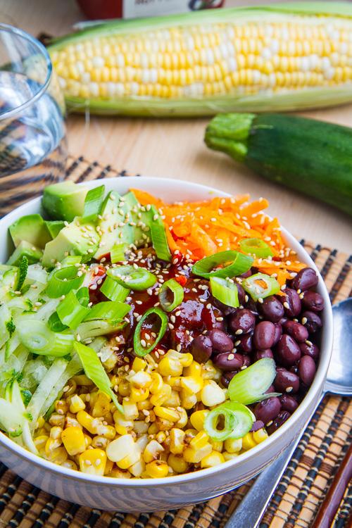 Summer Vegetable Bibimbap with Corn, Zucchini and Black Beans