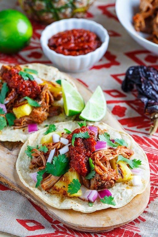 Tacos al Pastor with Pineapple Salsa Roja