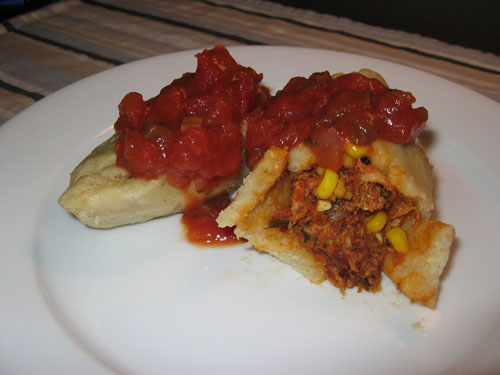 Tamales with Shredded Chicken and Corn Filling
