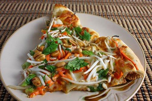 Thai Chicken Pizza with Spicy Peanut Sauce