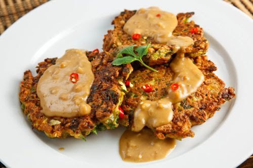 Thai Curried Zucchini Fritters with Spicy Peanut Sauce