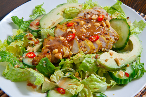 Chicken Satay Salad in Spicy Peanut Dressing
