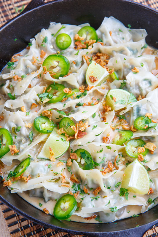 Thai Green Curry Pork Dumplings in Coconut Sauce with Crispy Fried Shallots
