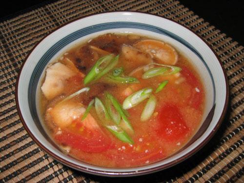 Tomato and Shiitake Miso Soup