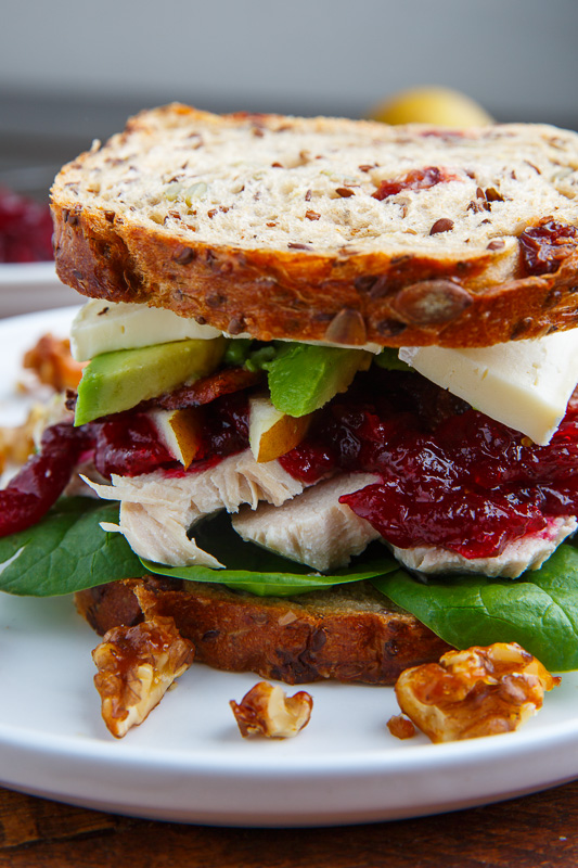 Turkey, Cranberry, Brie and Pear Sandwiches with Avocado and Bacon
