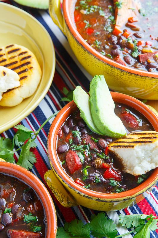 Venezuelan Black Bean and Chorizo Soup